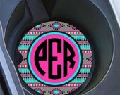 Personalised car coaster, Aztec sweet 16 gift, Turquoise and pink, Monogram cup holder coaster, Gifts for girls, Cute car accessory (1029)