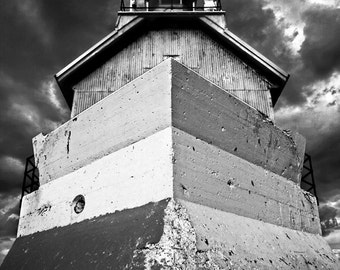 Lighthouse Photography, Michigan Lighthouse, Black and White Fine Art Photograph, Fine Art Print, Beach Photography