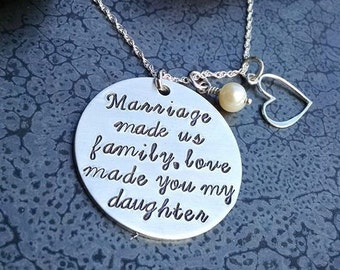 Gift for Step Daughter Personalized Hand Stamped Necklace Love Made You My Daughter Christmas Gift