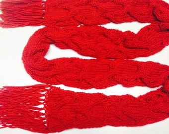 Amy Pond Inspired Red Cable Scarf