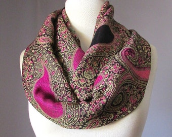 Winter scarf,  warm scarf, Fall scarf, paisley scarf, hot pink paisley scarf,brown scarf, winter accessories