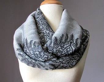 Silver grey Infinity Scarf,  floral Scarf, fall scarf,  pashmina paisley scarf,  Christmas Gift Ideas For Her, Women Fashion Accessories