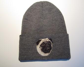 Pug Embroidered Beanie