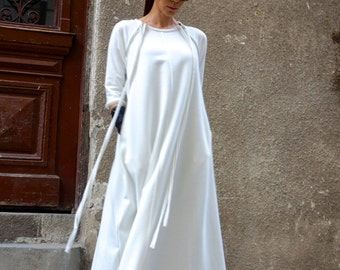 New Maxi Dress / Off White  Kaftan Cotton  Dress /Side Pockets  Dress / Extravagant Cotton Party Dress /Daywear Dress A03390