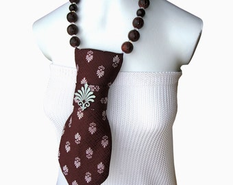 CHANCES ARE Necktie necklace ladies necktie vintage necktie women's necktie fashion accessory fleur de lis feminine accessory