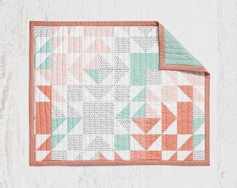 Coral Mint Patchwork Crib Quilt Baby Quilt Wholecloth Quit Baby Blanket Crib Blanket Pink Aqua Blanket