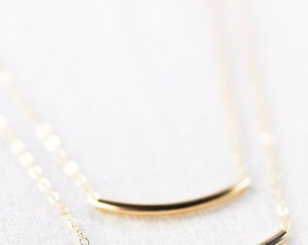 VALENTINES DAY SALE Kaipo'i necklace - layered gold bar necklace, double strand necklace, delicate 14kt gold filled necklace, minimal tube n