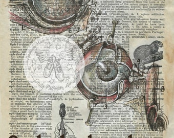 PRINT:  Ophthalmology Mixed Media Drawing on Antique Dictionary Page