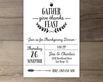 Gather Give Thanks Feast • Thanksgiving Dinner Invitation • Invite • fall party • DIY printable