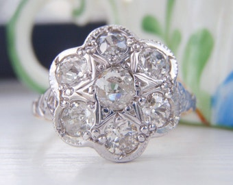 Spectacular 1.10 Carats Edwardian Floral Cluster, Old European Cut Diamond Engagement Ring. Platinum 18K Gold. Antique Ring Bliss Circa 1910
