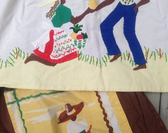 Lot 2 Vintage Aprons Ethnic Souvenir Mexico Cactus Donkey Island Pineapple