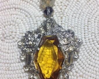 Ornate Silver Art Deco Rhinestone Necklace Amber Topaz Vintage Pendant Long Double Chain Gray Agate Restyled Jewelry OOAK WishAnWearJewelry