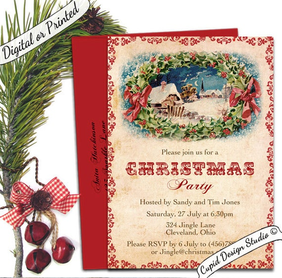 Retro Christmas Party Invitations: Vintage Traditional Christmas Party Invitation. Holiday Party