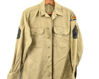 Vintage Army Shirt Khaki Army Shirt U.S. 7th Army Patch Military Shirt Army Vietnam Era Shirt