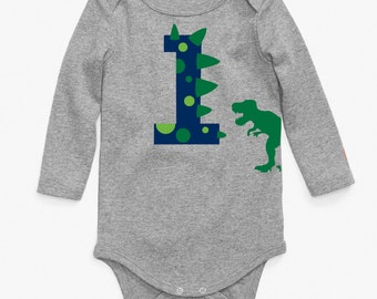 Custom Dinosaur Onesie One Long Sleeve First Birthday number Shirt with Name on Back