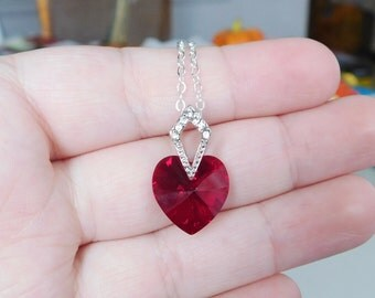 Swarovski Heart Necklace , Red Heart Pendant , Christmas Necklace
