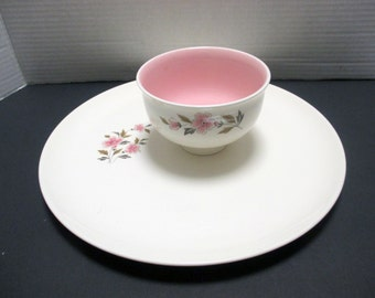 Vintage Chip and Dip Set - Taylor Smith Taylor - Wild Quince Pattern - Pink Mid Century Ever Yours Shape