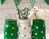 Shamrock Mason Jars - Painted Mason Jars - St Patrick Day Decor