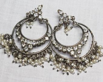 Vintage Art Deco Sparkly Diamantes & Faux Pearls Dangly Hoops Hook Pierced Earrings c1920s