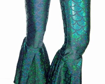 Mermaid Bell Bottom Flares, Flared Holographic Mermaid Leggings, Festival Clothes, Bell Bottom Mermaid Pants