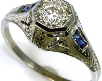 Old European Cut .35ct Diamond and Sapphire Ring