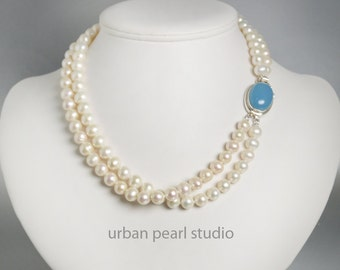 Multi Strand Pearl Necklace Blue Chalcedony Clasp, Gift for My Wife, Freshwater Pearls Hand Knotted, Pearl Statement Necklace,