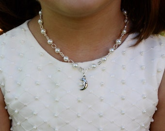 Moon Charm Necklace - I Love You to the Moon and Back - Flower Girl Gift - Silver Moon Jewelry - Necklace for Girls - Annabelle
