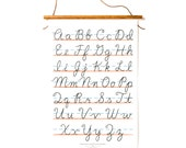 "XL Cursive Alphabet Canvas Banner - White 18x27"""
