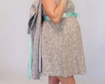 Small hospital delivery set gown, robe, nursing breastfeeding maternity dress