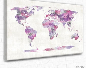 Teal world map world map world map poster large world map world map canvas pink and purple watercolor world map poster teen gift gumiabroncs Gallery