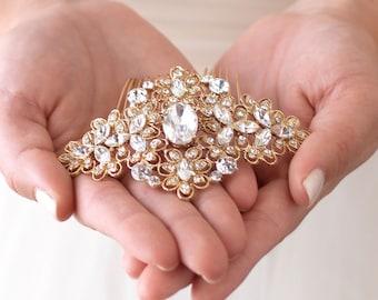 Gold Bridal Comb, Vintage Wedding Hair Comb, Gold Bridal Hair Comb, Bridal Hair Accessory, Wedding Headpiece, Antique Hair Comb ~TC-2241-G