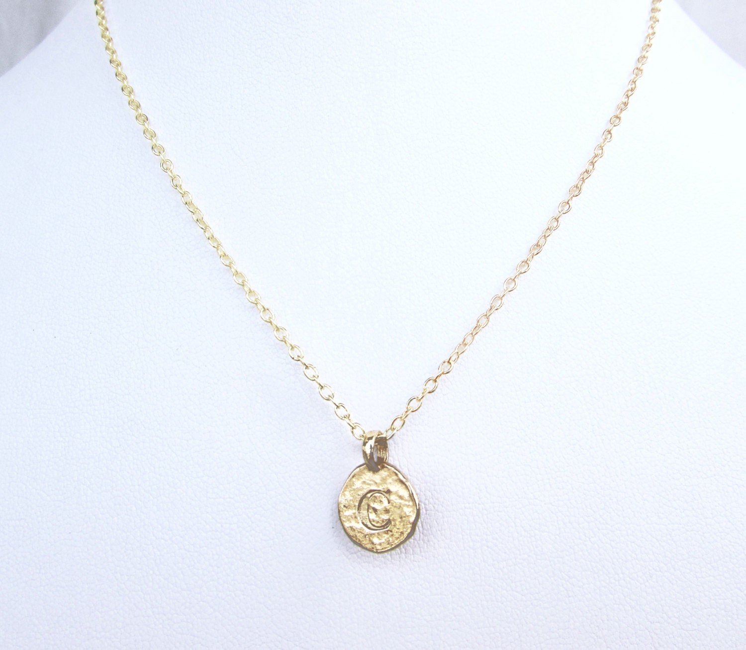C personalized initial necklace gold c stamped for Custom letter necklace gold