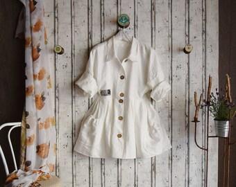 Plus sizes- US 18 - 34, UK 20 - 36 , Linen dress/blouse, European Layering Look