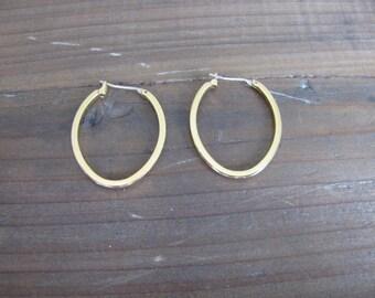 Vintage Gold Oval Rounded Hoop Earrings