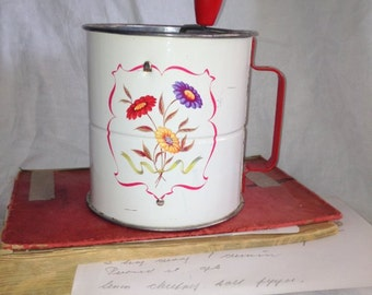 Triple Screen ANDROCK Metal Flour Sifter for your  red white  Vintage kitchen