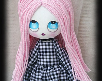 Reserved - Opal handmade pop surrealism inspired art doll with bunny ears. Cloth doll. Art doll