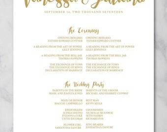 Wedding Program Poster | Wedding Ceremony Poster| Printable Program Poster | Printed Wedding Poster| VANESSA Modern Typography Gold