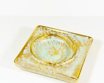 Stangle Hollywood Regency Ceramic Gold Frosted Ashtray - Gilt Ashtray