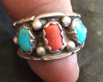 Navajo Silver Turquoise and Coral Ring Mary Largo