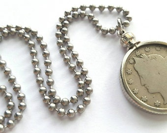 1911 Liberty Nickel Necklace with Stainless Steel Ball Chain