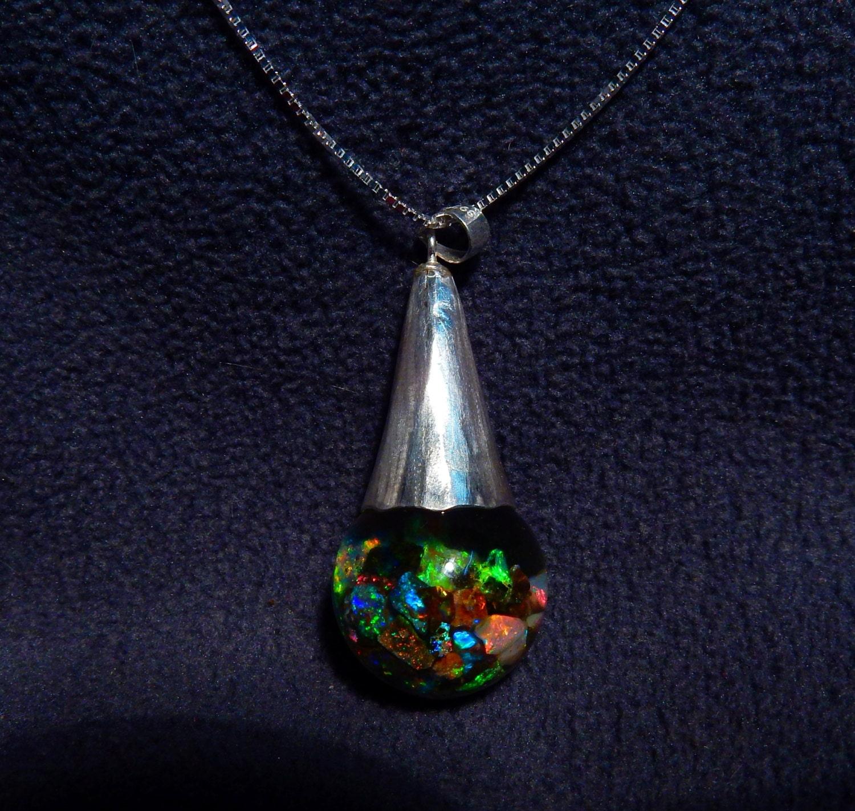 floating opal necklace australian lightning ridge andamooka