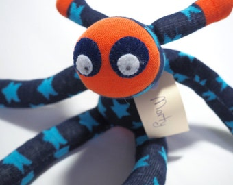 Sock Martian, sock monkey, soft plush toy, plush Martian toy creature for children.