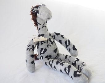 Sock toy, sock giraffe.  Soft plush toy giraffe. Gilbert Giraffe.