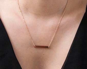 Simple Rose Gold Bar dainty necklace, perfect for layering, minimalist