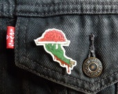 Zombie Hand Lapel Pin With Brains Shrink Plastic Hand-drawn