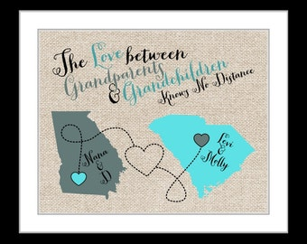 Grandparents Gifts Nana Grandpa Grandma Papa Grandmother Map Art Long Distance Parents In Laws Grandfather Quotes Unique birthday gift idea