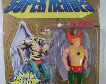 Vintage DC Comics Super Heroes Hawkman Action Figure, 1990, Toy Biz, New