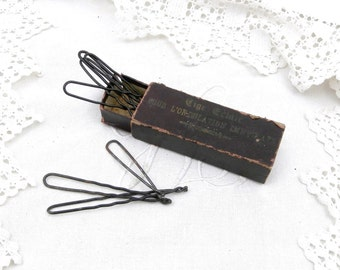Antique French Hair Curling Clips / Pins with Original Box, Bob Pins, Hair Dressing, Styling, Women, Prop, Retro Vintage Beauty, Hair Care