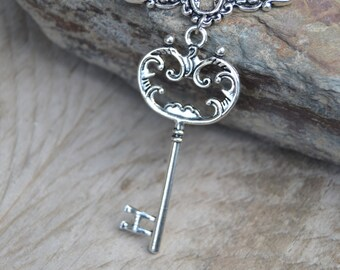 Key and keyhole necklace silver, victorian necklace, steampunk necklace, key necklace, escutcheon keyhole necklace key and lock necklace