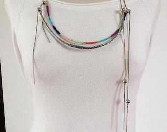 Set 2 Wrap bib necklaces - asymmetric necklaces - pendants